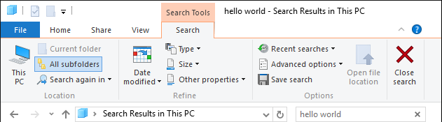 windows file explorer search
