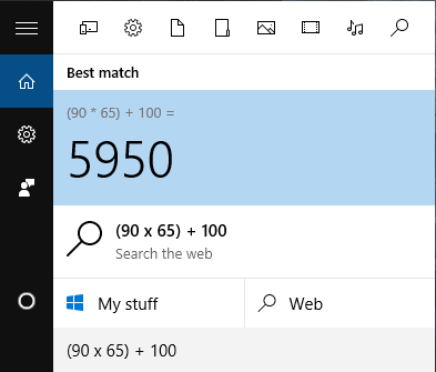 windows search calculator