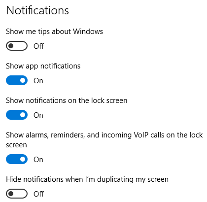 Action Center Notifications