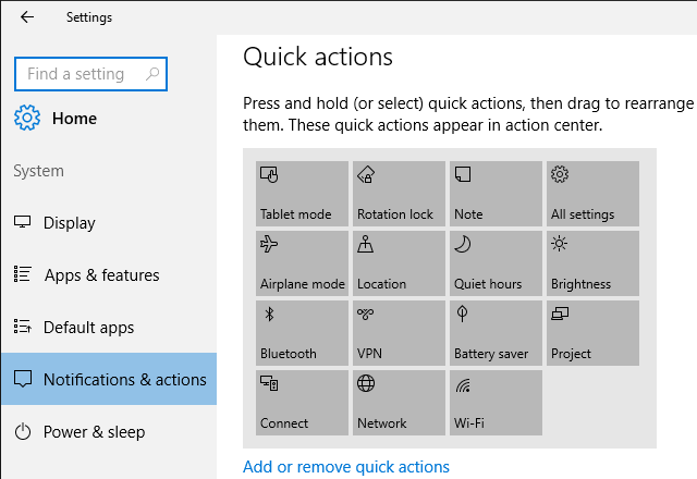 Action Center Quick Actions