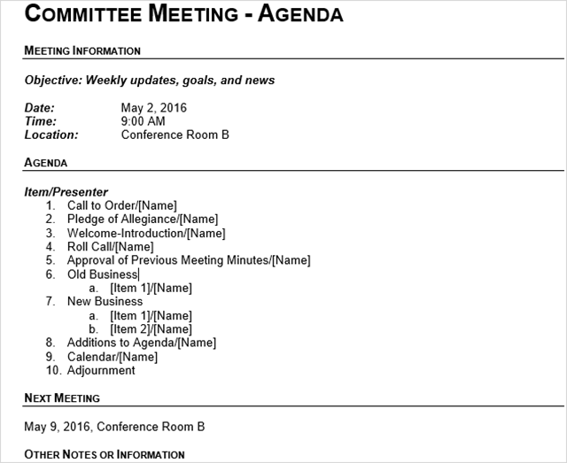 15 best meeting agenda templates for word committeemtgoutline cheaphphosting Image collections