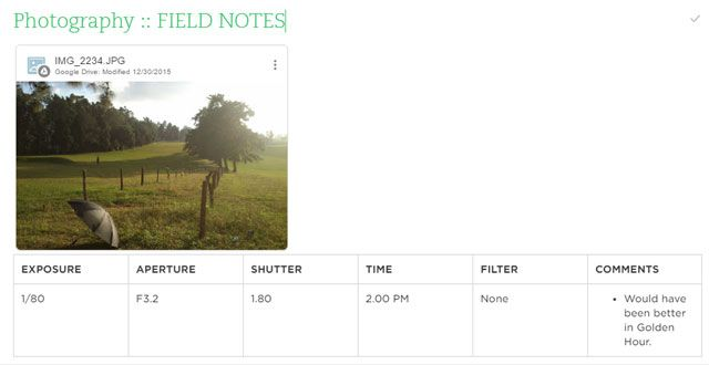 Take Photo Field Notes
