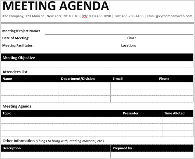 the formal meeting agenda template from office templates online accomplishes that with an elegant black and white table structure this is the perfect