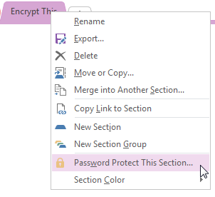 OneNote 2013 Create Password for Section