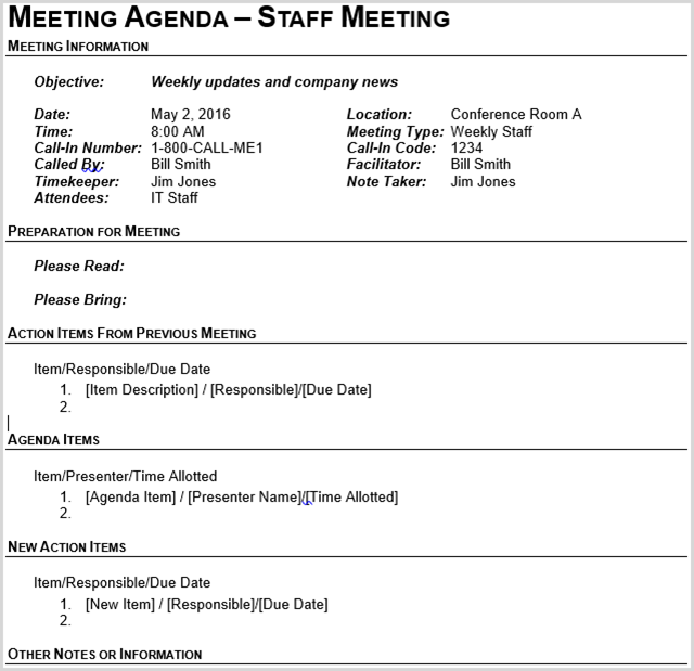 the second business meeting agenda template from vertex42 has the same header as the outline template above but encompasses the body in a table structure