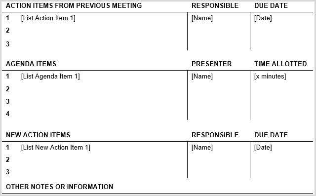 15 best meeting agenda templates for word the second business meeting agenda template from vertex42 has the same header as the outline template above but encompasses the body in a table structure fbccfo