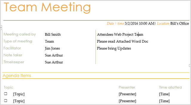 this alternative team meeting agenda template from tidyforms has a very organized look feel and format with a basic gray background the table structure