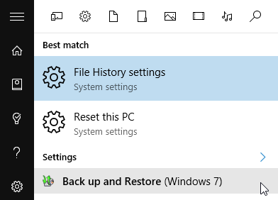 Windows 10 Back up search