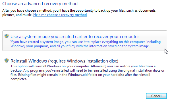 Windows 7 Recover from System Image