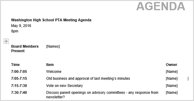 If You Are Planning An All Day Meeting, Seminar, Or One On One Appointment,  This Client Visit Template Is Time Based Like The PTA Meeting Agenda And ...