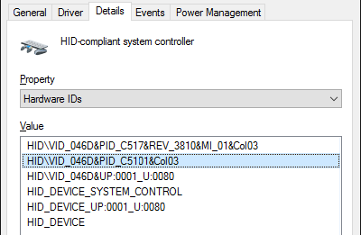 device manager hardware ids