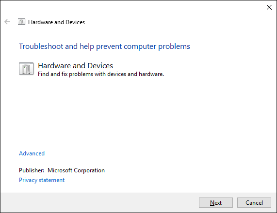 hardware and devices troubleshoot