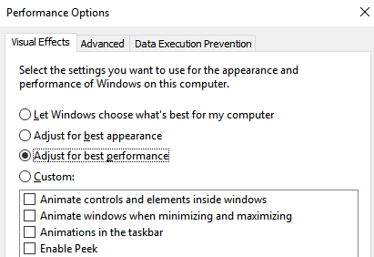 Adjust visual effects for best performance in Windows 10