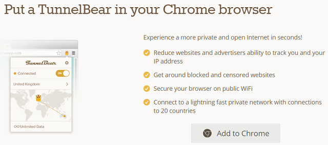 TunnelBear is a good option for the Chrome browser