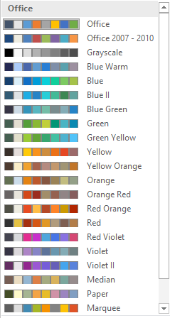 Word 2016 Theme Colors