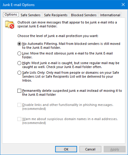 Junk Email Options Outlook