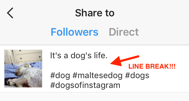 how to add line breaks on instagram