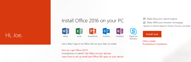 office 365 subscription install