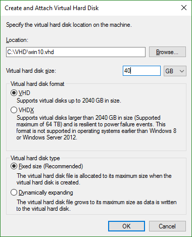 Create and Attach VHD WIndows Disk Management
