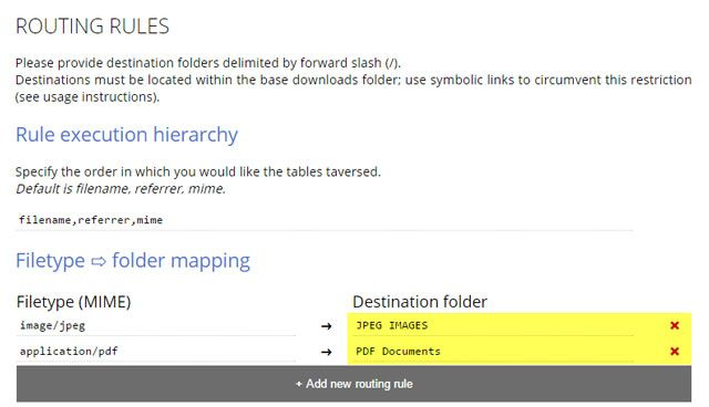 Set custom download locations based on filetype, filename, or source domain