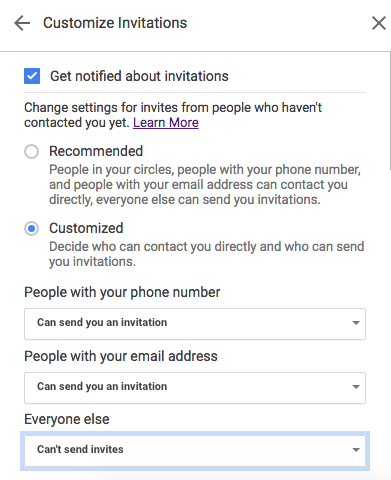 For everyone else, be sure to choose Can't send invites if you don't want to receive invitations from people who follow you on Google+.