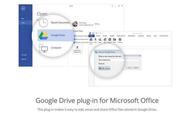 Google Drive Plug-in for Office 2016