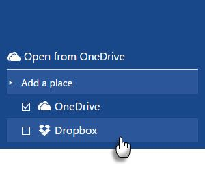 Save Office 2016 Files to Dropbox