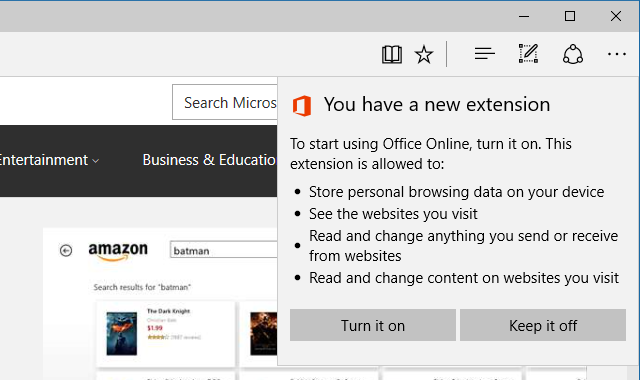 Microsoft Edge Turn On Extension