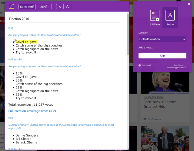 OneNote Web Clipper on Edge