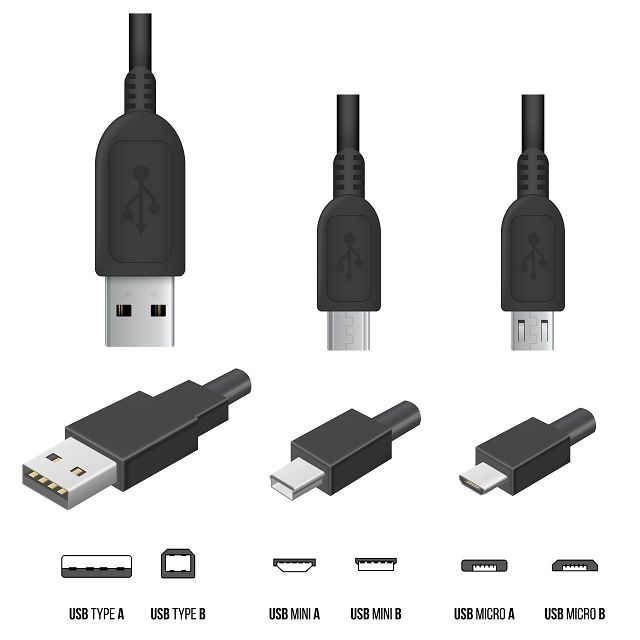 Various USB connection types