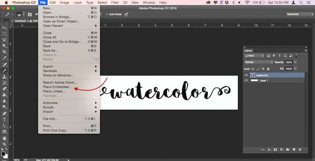 Heres an easy way to add textures to text in photoshop navigate to the texture you are using to make your text look like it was painted and hit the place button i am using a free watercolor texture from a free ccuart Choice Image