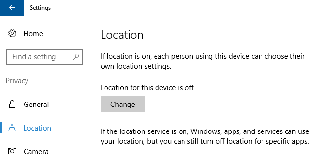 Windows 10 Location Settings