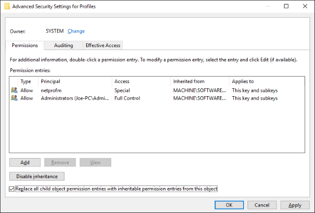 advanced security settings for profiles