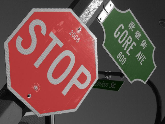 Stop Sign Gore Ave Colorized Photo