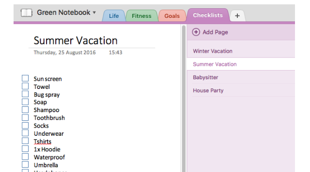 Checklists in Onenote Feature Example Screenshot