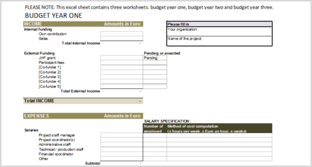 Excel PM Yearly Budget Template