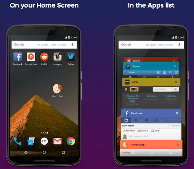 Hermit-android-lite-apps-homescreen-recent-apps