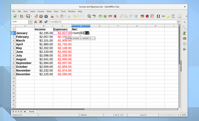 Linux Budge Apps LibreOffice Calc Screenshot