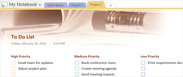 OneNote Priority ToDo Task List Template