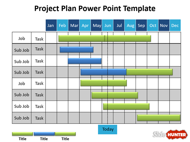 PP Slide Hunter Gantt Chart Template