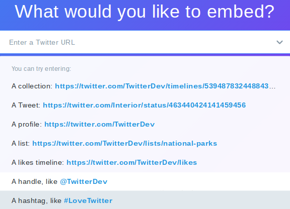 Twitter Publisher Embed