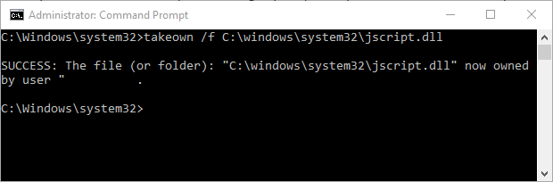 Windows 10 Command Prompt takeown command