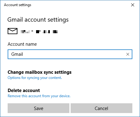 Windows Calendar Account Settings