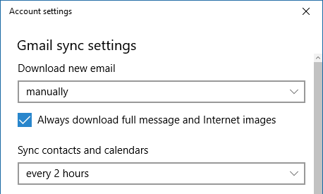 Windows Calendar Sync Settings