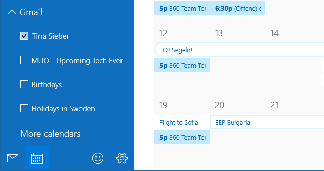 Windows Calendar View