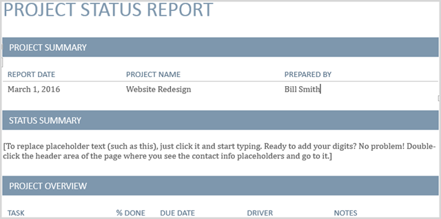 Microsoft Word 2016 Project Status Report Template