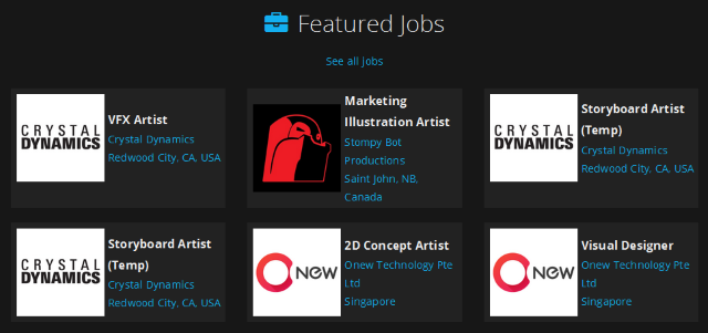 ArtStation Website Job Listings Screenshot