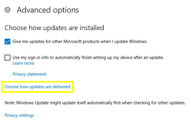 Windows Choose How Updates Are Delivered