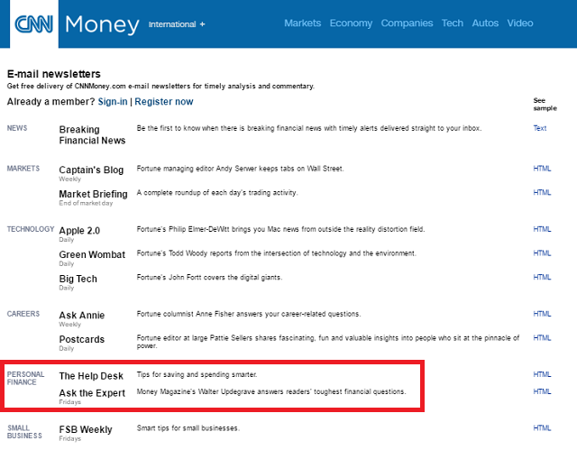 CNN Personal Finance Newsletters