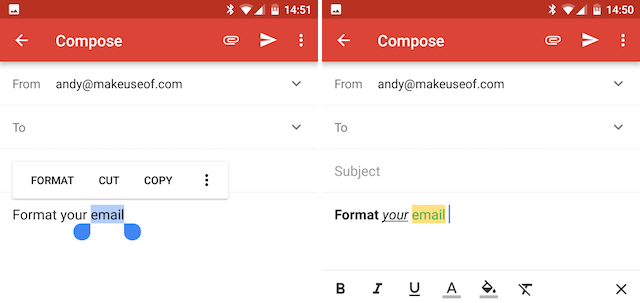 Android Gmail Format Your Messages